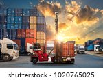 logistics and transportation of ... | Shutterstock . vector #1020765025