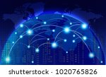 world map with coherent nodes... | Shutterstock .eps vector #1020765826
