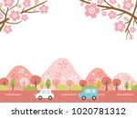 landscape driving the spring... | Shutterstock .eps vector #1020781312