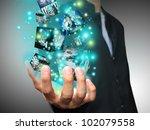 businessman holding virtual box   Shutterstock . vector #102079558