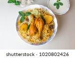 delicious spicy chicken biryani ... | Shutterstock . vector #1020802426