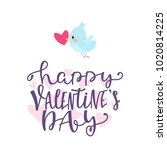 Valentine card with cartoon character bird, lettering with handwritten calligraphy text, isolated on white background. Vector Illustration for Valentine's Day invitation card, posters, design