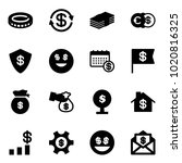 solid vector icon set   coin...