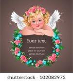 Angel On Floral Frame