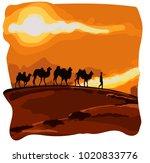 caravan of camels goes in the... | Shutterstock .eps vector #1020833776