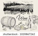 vector set of vine products....   Shutterstock .eps vector #1020867262