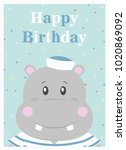 happy birthday card design.... | Shutterstock .eps vector #1020869092