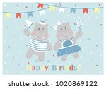 happy birthday card design.... | Shutterstock .eps vector #1020869122