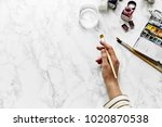 artist workplace mock up with... | Shutterstock . vector #1020870538