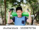 asian boy with exercise...   Shutterstock . vector #1020870736