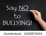 say no to bullying teacher... | Shutterstock . vector #1020874342