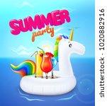 vector realistic 3d unicorn...   Shutterstock .eps vector #1020882916