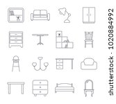 collection of home furniture...   Shutterstock .eps vector #1020884992