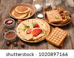 pancake  waffle and crepe | Shutterstock . vector #1020897166