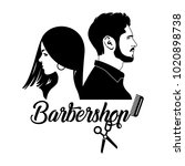 emblem for beauty salon ... | Shutterstock .eps vector #1020898738