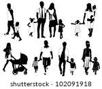 family silhouettes | Shutterstock .eps vector #102091918