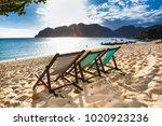 beautiful sunset at long beach...   Shutterstock . vector #1020923236
