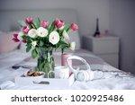 romantic breakfast in bed.... | Shutterstock . vector #1020925486