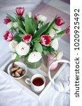 romantic breakfast in bed.... | Shutterstock . vector #1020925492