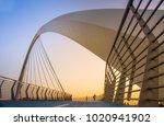 evening shot of dubai water... | Shutterstock . vector #1020941902