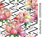 watercolor seamless pattern of ... | Shutterstock . vector #1020943246