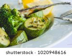 eternal food. zucchini and... | Shutterstock . vector #1020948616