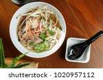 ramen soup with veal meet and...   Shutterstock . vector #1020957112