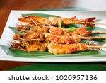 fried hot big size shrimps  on...   Shutterstock . vector #1020957136