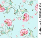seamless peony pattern with... | Shutterstock . vector #1020962506