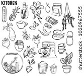 hand drawn icons. kitchen ... | Shutterstock .eps vector #1020967555