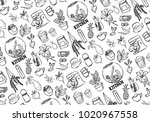 hand drawn icons. kitchen ... | Shutterstock .eps vector #1020967558