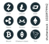 flat cryptocurrencies icons of...