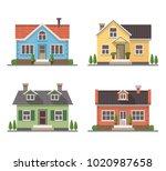 set of 4 different residential... | Shutterstock . vector #1020987658