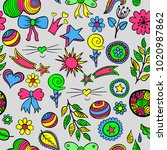 set of fashionable patches... | Shutterstock . vector #1020987862