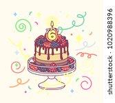 vector birthday cake with 6... | Shutterstock .eps vector #1020988396