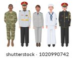 five american soldiers in... | Shutterstock .eps vector #1020990742