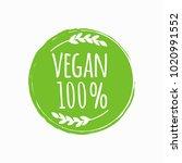vegan round logo. bio  eco food ... | Shutterstock .eps vector #1020991552