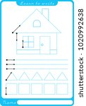 house. preschool worksheet for... | Shutterstock .eps vector #1020992638