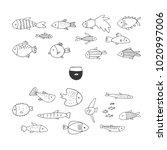 set of hand drawn cute fish