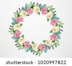 wreath of spring flowers  hand... | Shutterstock . vector #1020997822