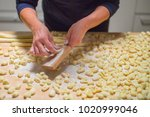 gnocchi making process on wood... | Shutterstock . vector #1020999046