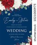 wedding floral invite ...   Shutterstock .eps vector #1021000975