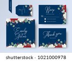 wedding floral invite  thank... | Shutterstock .eps vector #1021000978