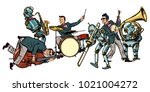 futuristic jazz orchestra of... | Shutterstock .eps vector #1021004272