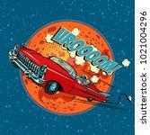 astronaut in electric car over...   Shutterstock .eps vector #1021004296