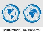 earth hemispheres of blue color....   Shutterstock .eps vector #1021009096