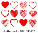 set of red hearts for... | Shutterstock .eps vector #1021030432