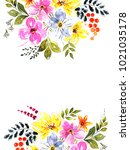 greeting card with flowers ... | Shutterstock . vector #1021035178