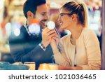 romantic couple dating in pub... | Shutterstock . vector #1021036465