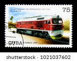 Small photo of MOSCOW, RUSSIA - NOVEMBER 25, 2017: A stamp printed in Cuba shows T.E.114-K (Soviet Union 1975), 160 years Cuban Railways: Locomotives serie, circa 1997